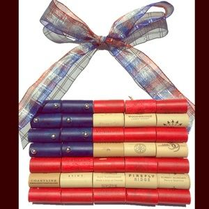 WINE CORK AMERICAN FLAG with Bow - Synthetic corks